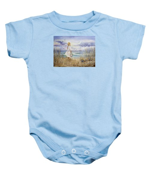 Girl At The Ocean Baby Onesie