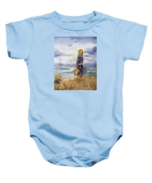 Girl And The Ocean Baby Onesie