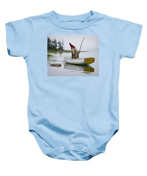 Gnome Fisherman In A White Maine Boat On A Foggy Morning Baby Onesie