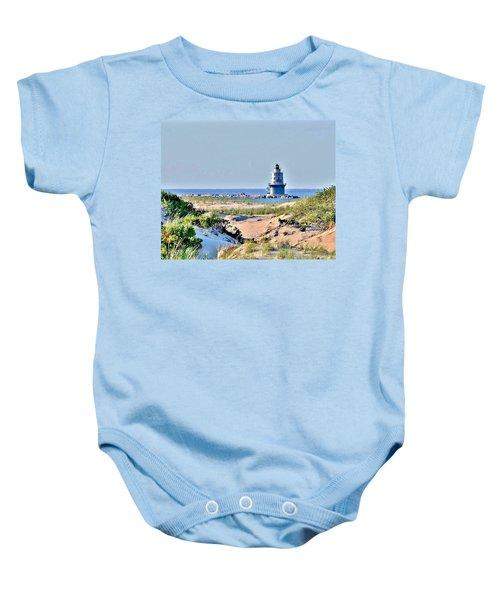 Harbor Of Refuge Lighthouse Baby Onesie