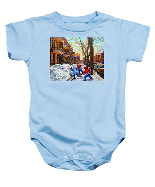 Hockey Art - Paintings Of Verdun- Montreal Street Scenes In Winter Baby Onesie