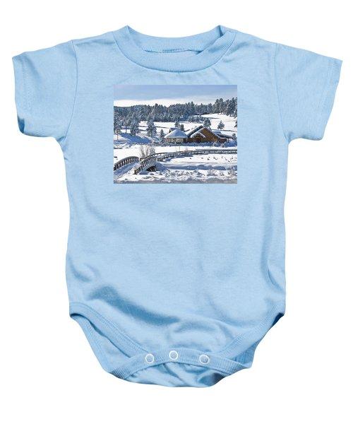 Lake House In Snow Baby Onesie
