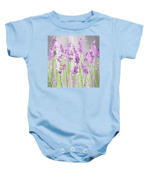 Lavender Blossoms - Lavender Field Painting Baby Onesie