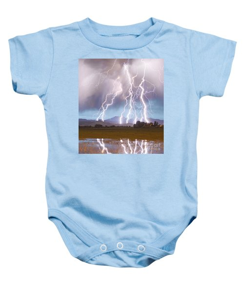 Lightning Striking Longs Peak Foothills 4c Baby Onesie