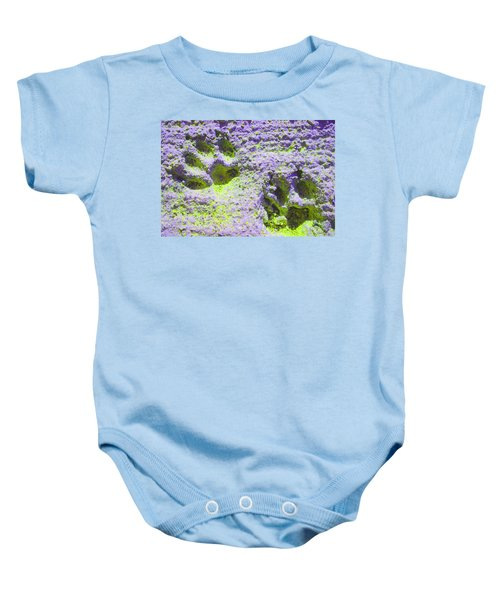 Lilac And Green Pawprints Baby Onesie
