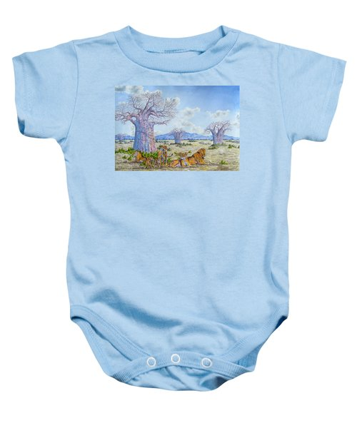 Lions By The Baobab Baby Onesie