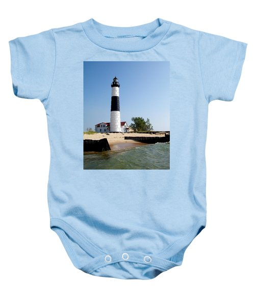 Ludington Michigan's Big Sable Lighthouse Baby Onesie by Michelle Calkins