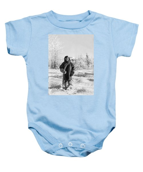 Man With Parka And Snowshoes Baby Onesie
