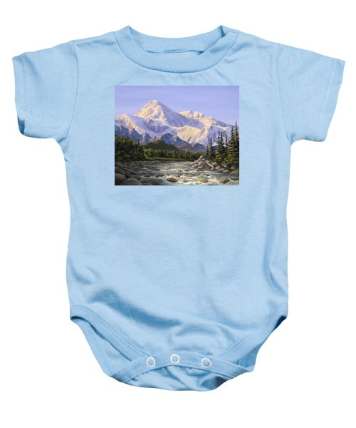 Majestic Denali Mountain Landscape - Alaska Painting - Mountains And River - Wilderness Decor Baby Onesie