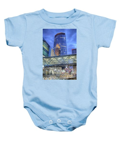 Minneapolis Skyline Photography Nicollet Mall Winter Evening Baby Onesie