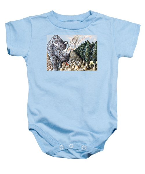 Donald Trump In Action - Political Cartoon Baby Onesie by Art America Gallery Peter Potter