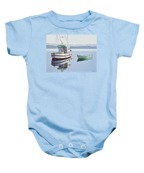 Morning Calm-fishing Boat With Skiff Baby Onesie