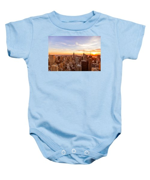 New York City - Sunset Skyline Baby Onesie