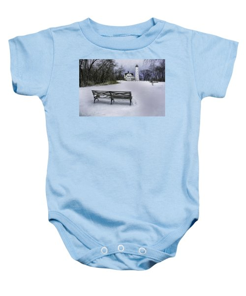 North Point Lighthouse And Bench Baby Onesie