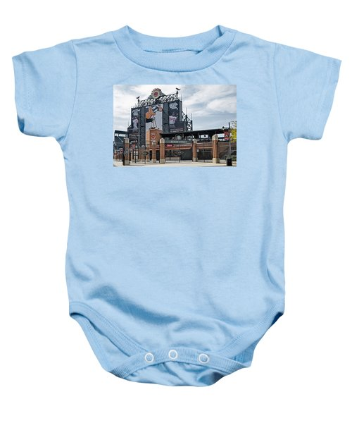 Oriole Park At Camden Yards Baby Onesie by Susan Candelario
