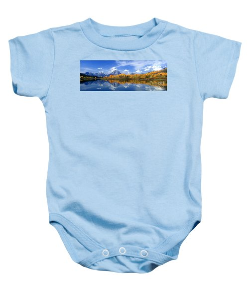 Panorama Fall Morning At Oxbow Bend Grand Tetons National Park Baby Onesie