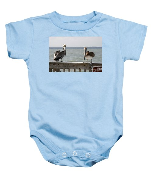 Pelicans On The Pier At Fort Myers Beach In Florida Baby Onesie
