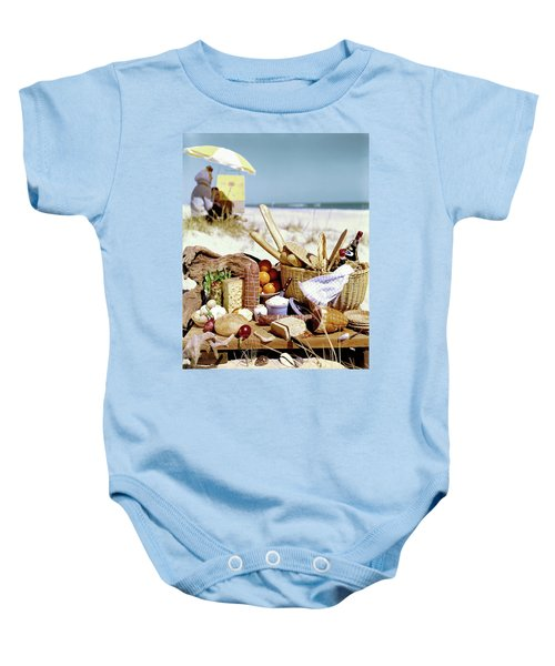 Picnic Display On The Beach Baby Onesie