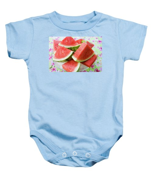 Pieces Of Watermelon On A Glass Platter Baby Onesie