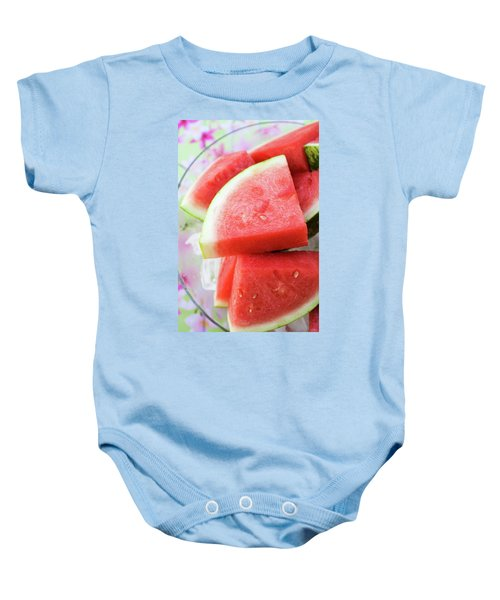 Pieces Of Watermelon On A Platter Baby Onesie