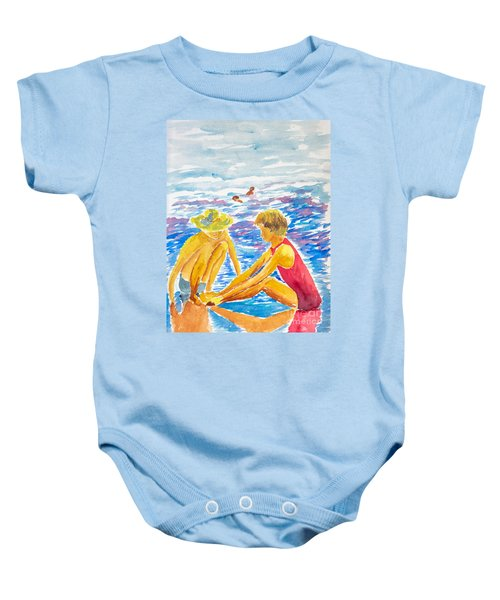 Playing On The Beach Baby Onesie