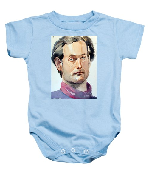 Watercolor Portrait Of A Man With Pale Blue Eyes Baby Onesie