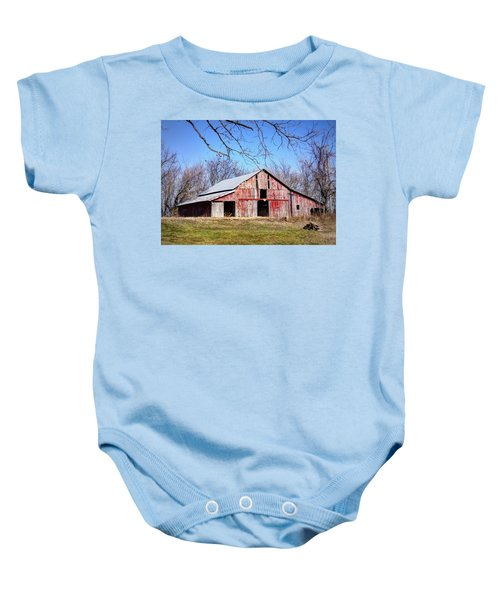 Red Barn On The Hill Baby Onesie