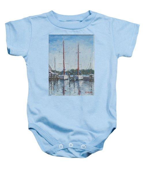 Red Sails Under Gray Sky Baby Onesie