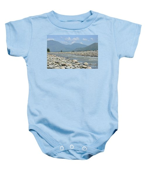 Riverbank Water Rocks Mountains And A Horseman Swat Valley Pakistan Baby Onesie