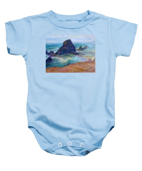 Rocks Heading North - Scenic Landscape Seascape Painting Baby Onesie