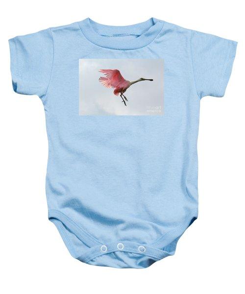 Roseate Spoonbill In Flight Baby Onesie by Carol Groenen