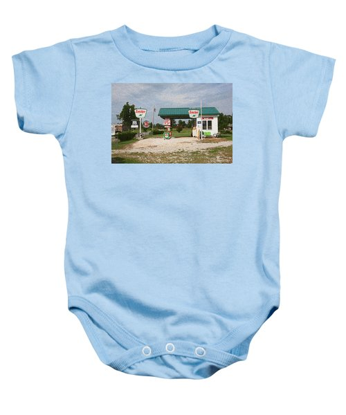 Route 66 Gas Station With Sponge Painting Effect Baby Onesie
