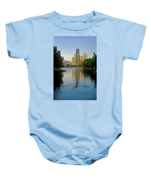 Rower On Chicago River With Skyline Baby Onesie