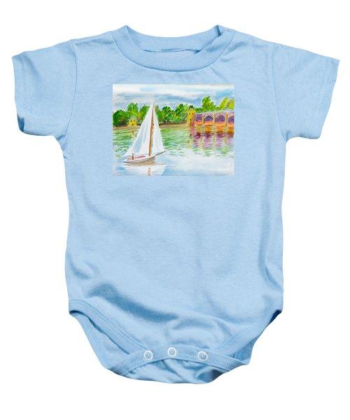 Sailing By The Bridge Baby Onesie