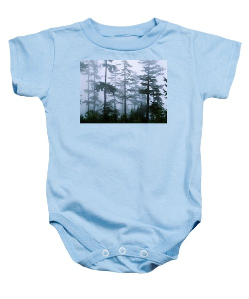 Silhouette Of Trees With Fog Baby Onesie by Panoramic Images