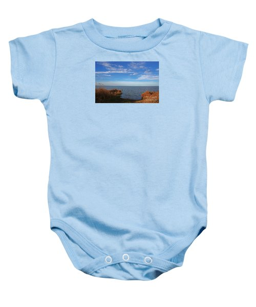 Baby Onesie featuring the photograph Sky Water And Grasses by Nareeta Martin