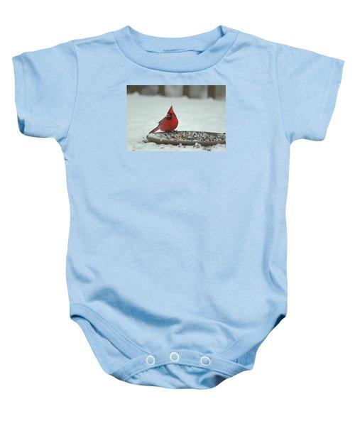 Snow Cardinal Baby Onesie