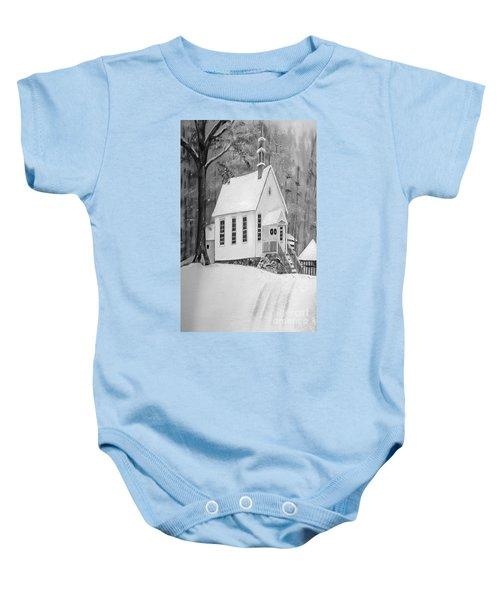 Snowy Gates Chapel -white Church - Portrait View Baby Onesie