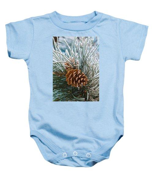 Snowy Pine Cones Baby Onesie