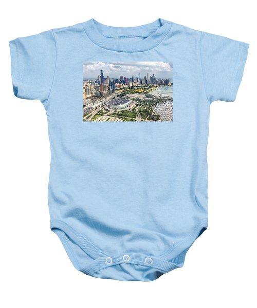 Soldier Field And Chicago Skyline Baby Onesie by Adam Romanowicz