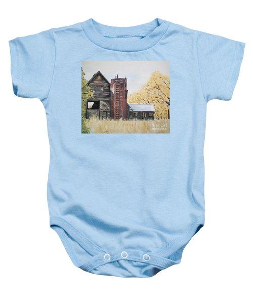 Golden Aged Barn -washington - Red Silo  Baby Onesie