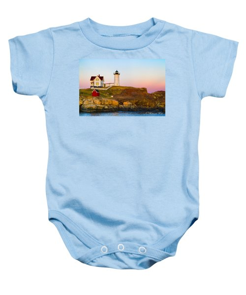 Sunset At Nubble Lighthouse Baby Onesie