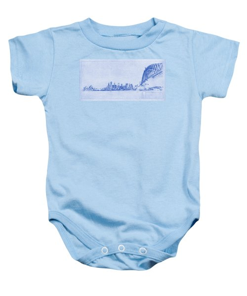 Sydney Skyline Blueprint Baby Onesie by Kaleidoscopik Photography