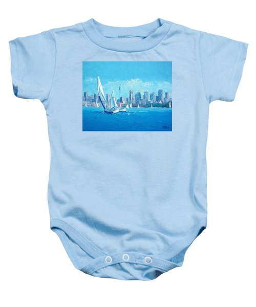 The Regatta Sydney Habour By Jan Matson Baby Onesie by Jan Matson