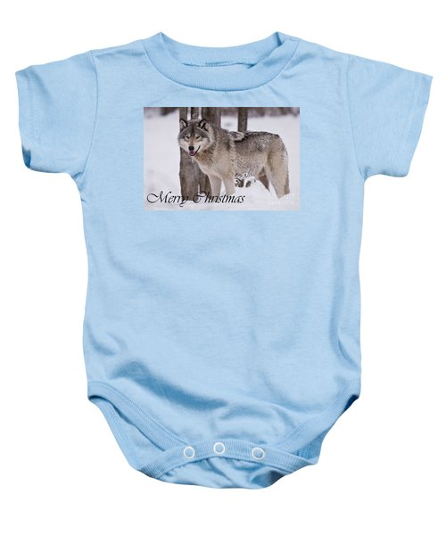 Timber Wolf Christmas Card English 3 Baby Onesie