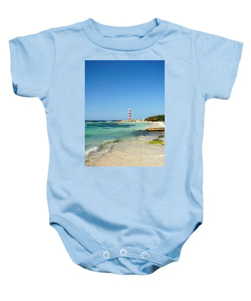 Tropical Seascape With Lighthouse Baby Onesie