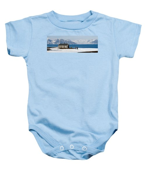 Two Hikers Standing On The Beach Baby Onesie