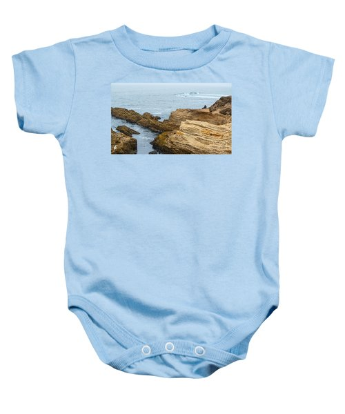 View Of Time - The Jagged Rocks And Cliffs Of Montana De Oro State Park Baby Onesie