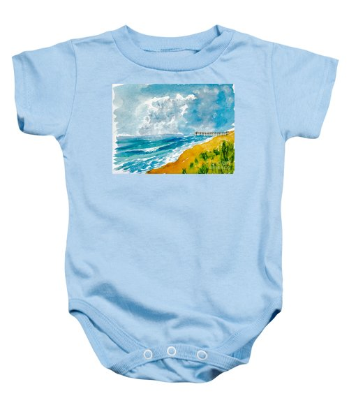 Virginia Beach With Pier Baby Onesie