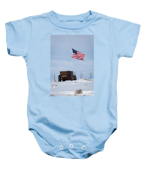 Wagon And Flag Baby Onesie
